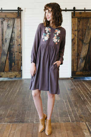 Embroidered Floral Dress-Charcoal