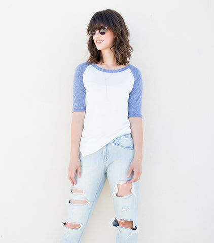 Heathered Baseball Tee - Blue