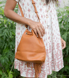 Sophia Fringe Bucket Bag - Brown