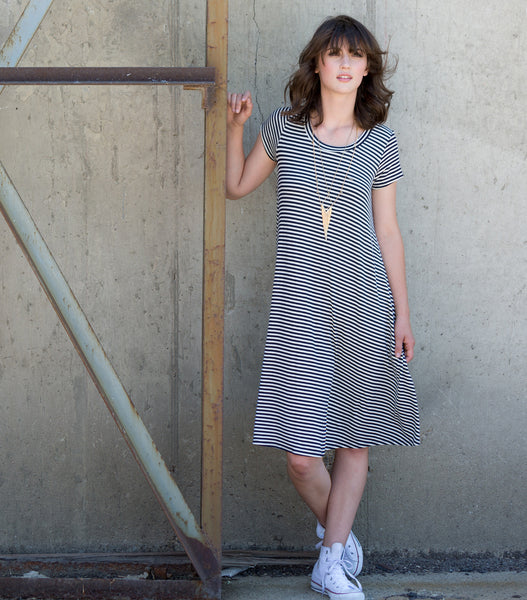 Casual Striped Ribbed Dress