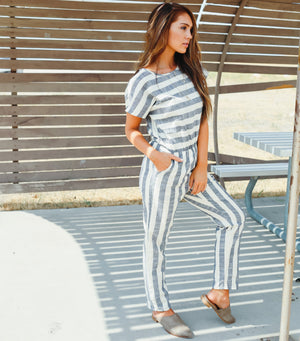 Stripe Short Sleeve Jumpsuit