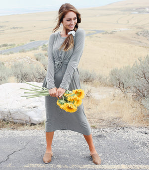 So Easy Knot Dress-Olive