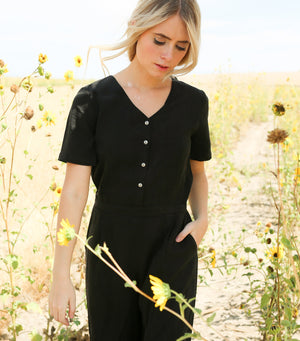 Button up Short Sleeve Jumpsuit