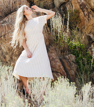 Cinched Side Stripe Midi Dress