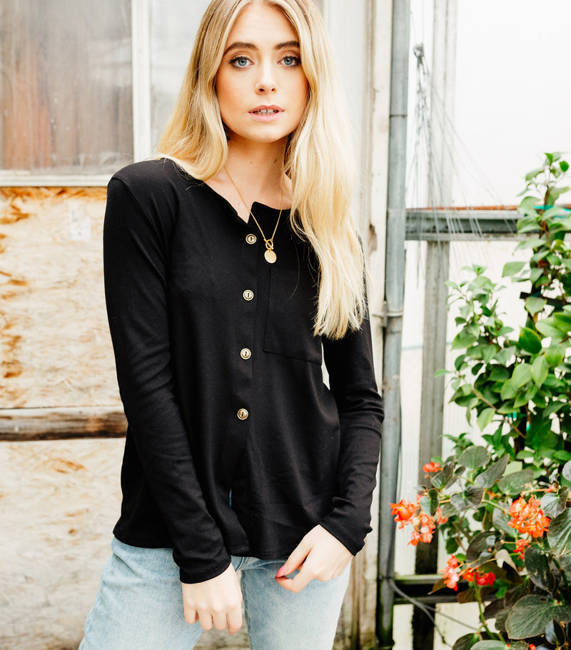 Button Up Pocket Blouse