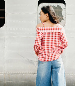 Gingham Off The Shoulder Top