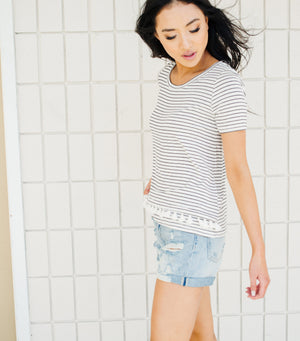 Sugar Stripe Trim Top