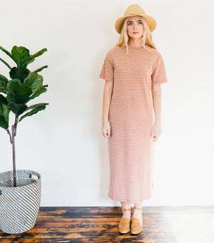 Home Run Stripe Dress- Copper Stripe