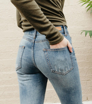 Mid-Rise Distressed Boyfriend Jean
