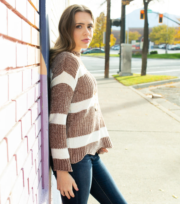 Striped Sweater Top-Taupe