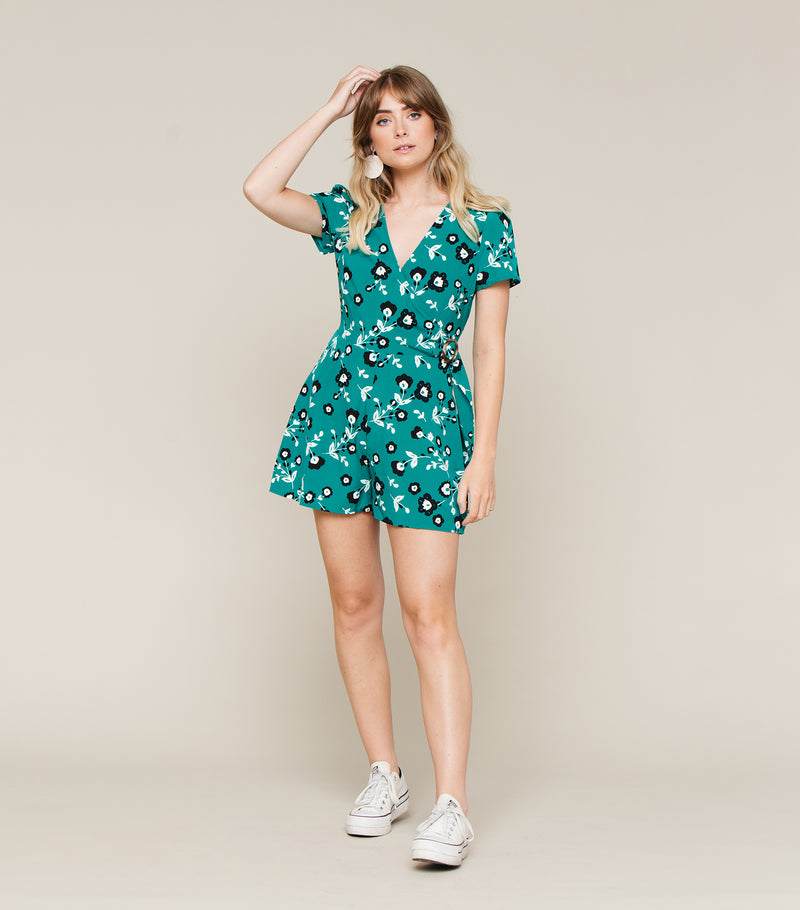 Floral Romper with Metal O Ring