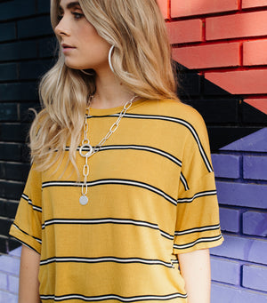 Multi Stripe Long Sleeve- Mustard Black