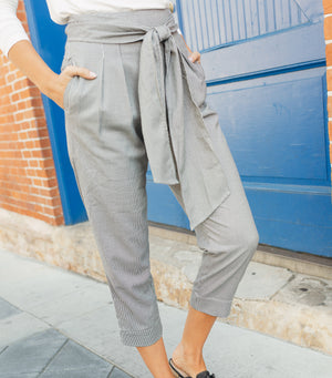 Chunky Tie Front Paper Bag Pant