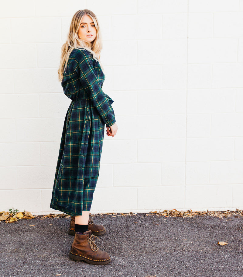 Wrapped Up Plaid Dress