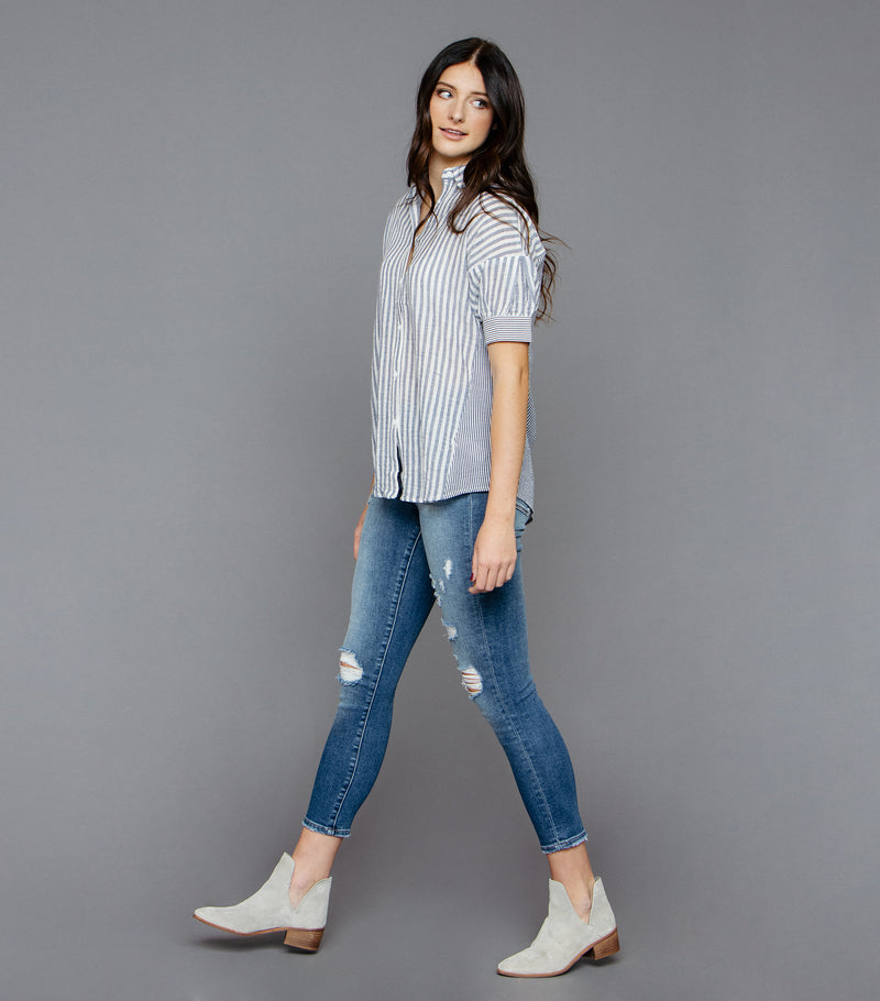 Mixed Stripe Button Down Shirt
