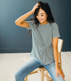 Twist Knit Tee-Green