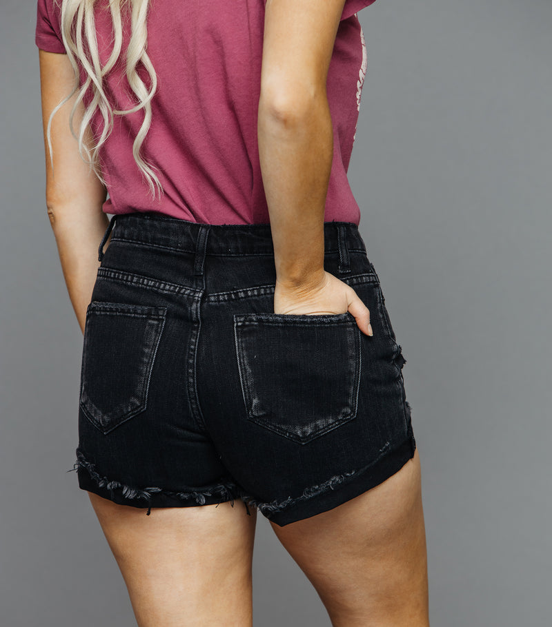 High Rise Frayed Hem Short