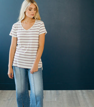 Cool Girl Stripe Tee-Ivory/Burgundy