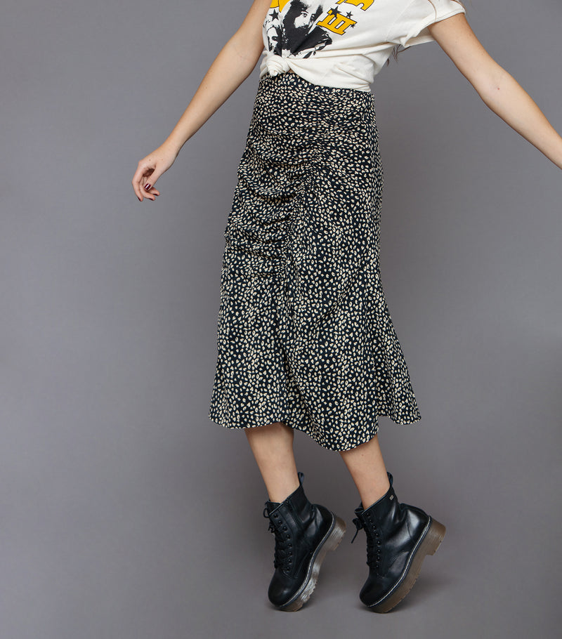 Scrunched Animal Midi Skirt