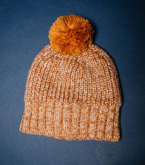 Colorful Two Tone Pom Pom Hat-Burnt Orange