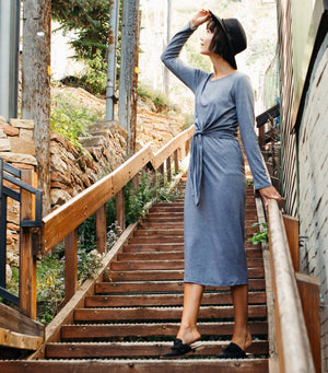 So Easy Knot Dress-Grey