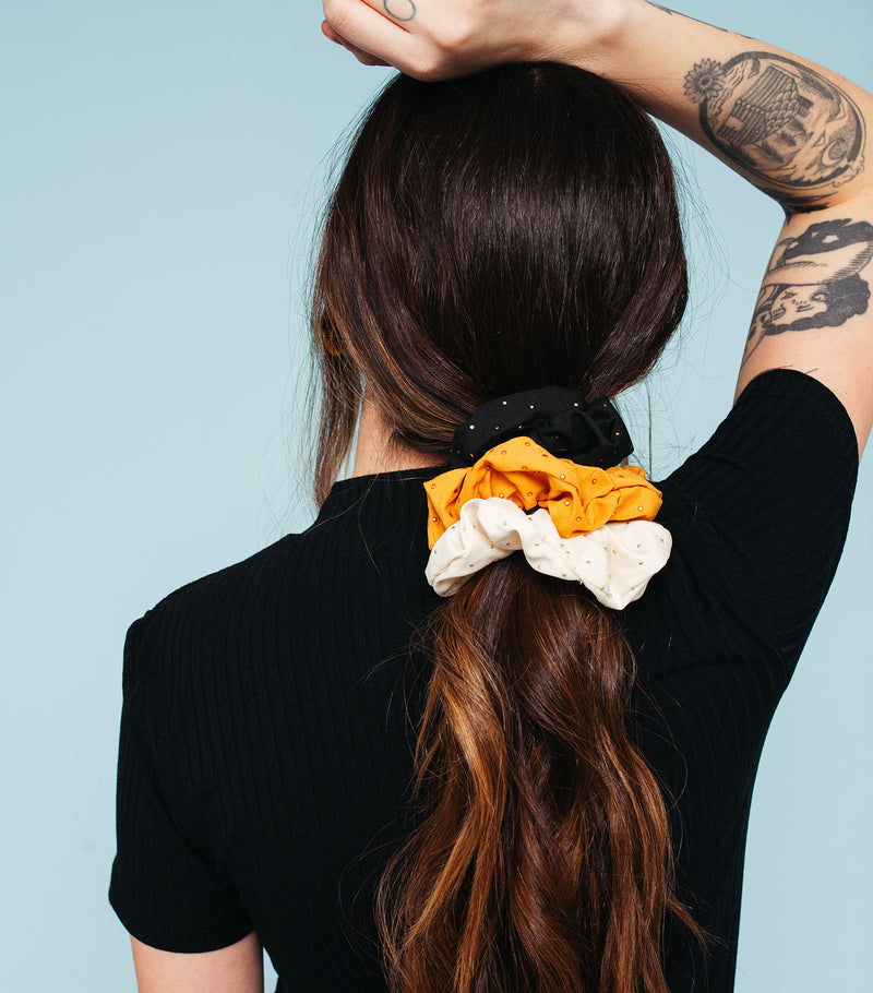 Gold Speckle Scrunchie Set