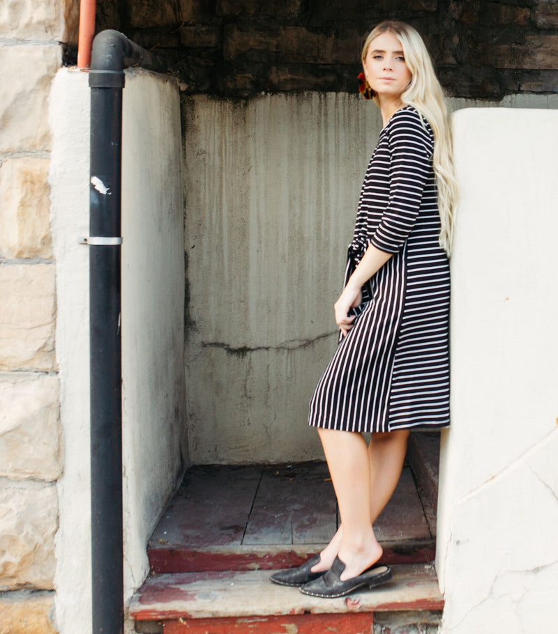 Long Sleeve Knot Stripe Midi Tee Dress