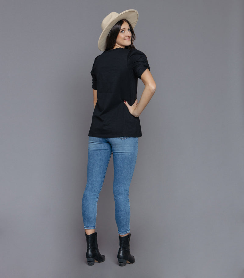 Circle Neck with Twisted Sleeve Tee Detail