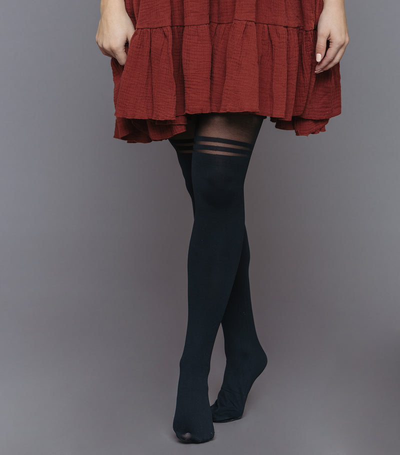 Over The Knee Striped Tights