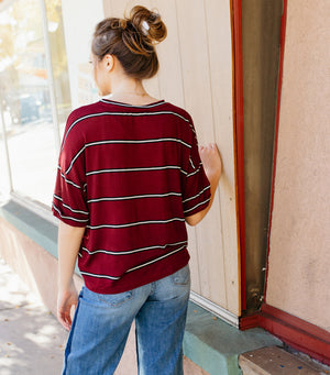Multi Stripe Long Sleeve- Wine Black