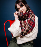 Plaid Wool Scarf-Raisin