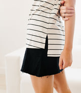Cool Girl Stripe Tee-Ivory/Black