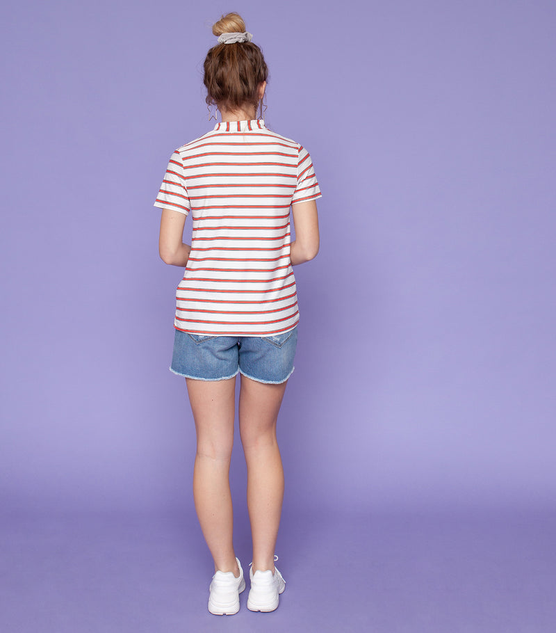 Mona Stripe Mock Neck Tee