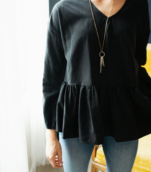 Soho Peplum Blouse- Black