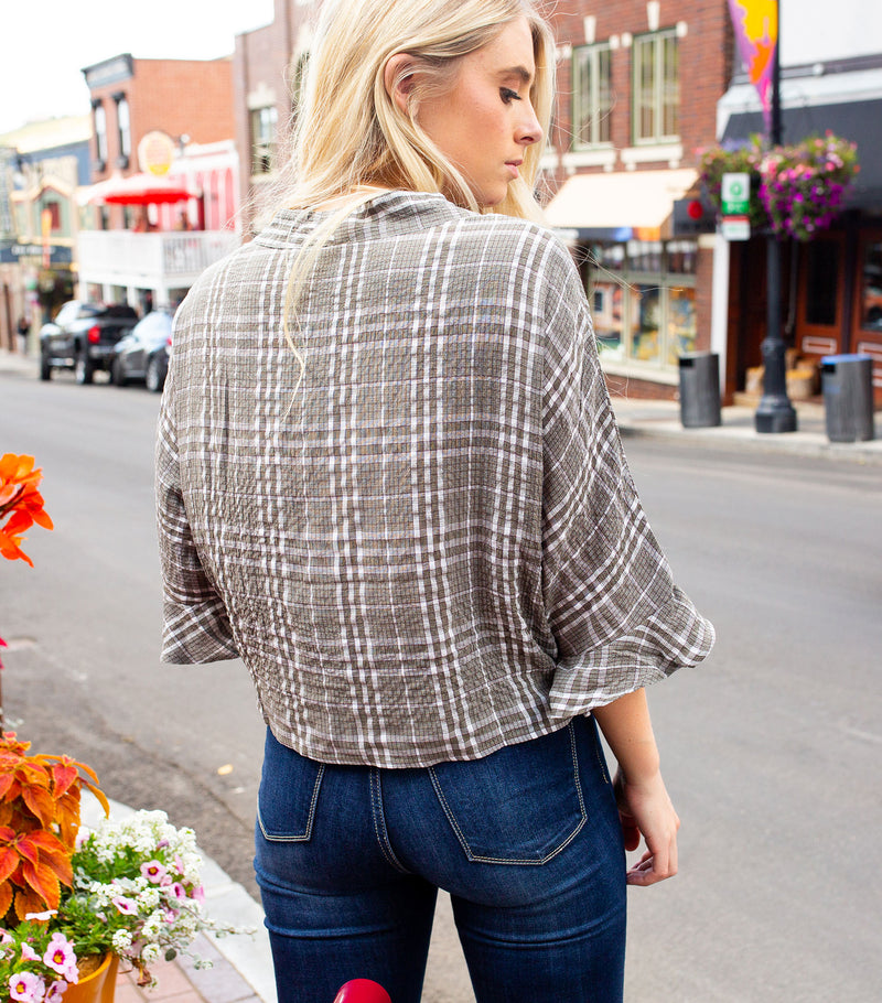 Plaid Ruffle Sleeve Crop Tie Tee