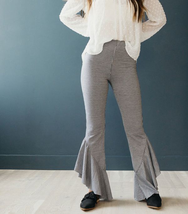 Gingham Bell Bottom Pant