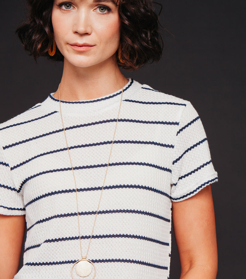 Let's Be Pals Tee-Navy Stripe