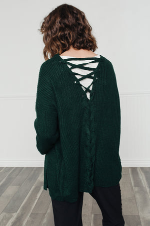 Laced Up Cardigan- Hunter Green