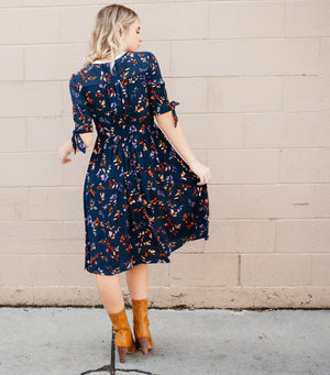 Navy Leaf Dress