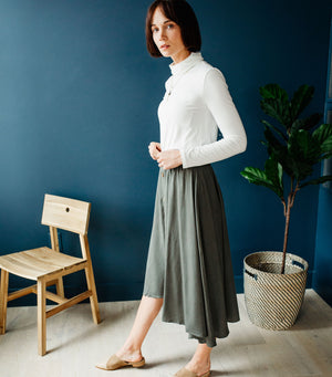 Highrise Buttondown Maxi Skirt