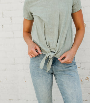 Ginger Knot Top-Sage