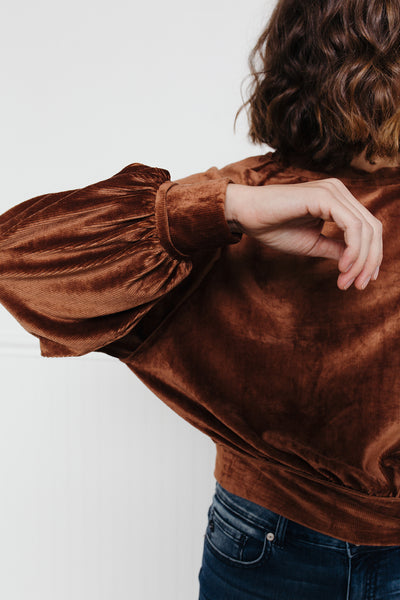 Crisp Air Velvet Pullover- Copper