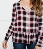 Perfect Mix Plaid Blouse- Wine