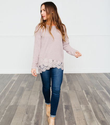 Laced Border Sweater-Mauve