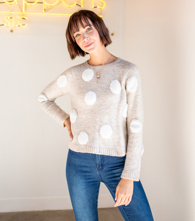 Fuzzy Polka Dot Sweater