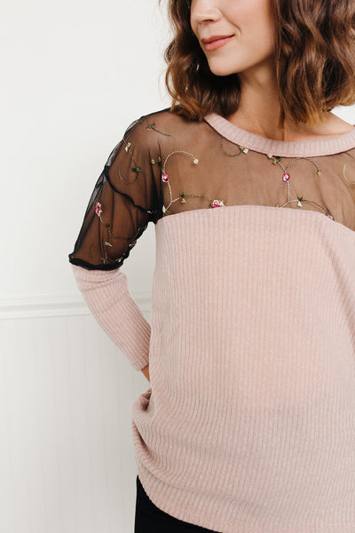 Peaking Through Rose Sweater- Mauve