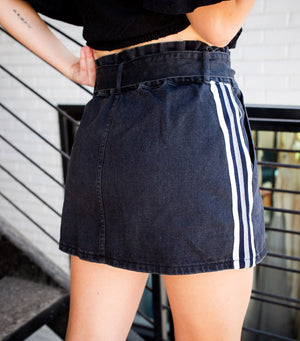 Tie Waist Denim Skirt