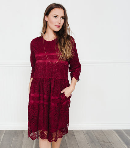 Bold Lace Midi Dress-Burgundy