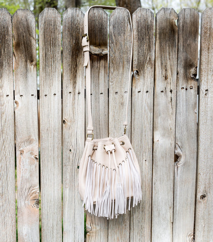 Sophia Fringe Bucket Bag - Ivory