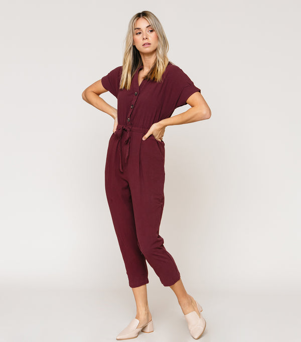 Button up Linen Jumpsuit
